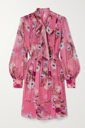 Erdem Remy Pussy-bow Floral-print Silk Crepe De Chine Mini Dress - Bubblegum