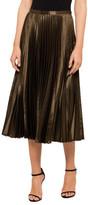 STUDIO W Pleated Satin Midi Skirt