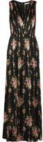 Alice + Olivia Ava Lace-paneled Floral-print Silk Maxi Dress - Black