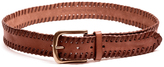 "Linea Pelle 1.5"" Vintage Laced Edge Hip Belt in New Cognac"