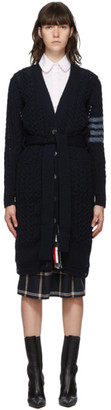 Thom Browne Navy Wool and Mohair Aran Cable 4-Bar Long Cardigan