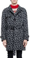 Saint Laurent Leopard-Print Belted Trench Coat, Gray Multi