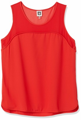 Anne Klein Women's Sheer Yoke Combo Sleeveless Blouse
