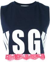 MSGM logo print tank top - women - Cotton - S