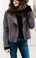 Ily Couture Grey Suede Moto Jacket
