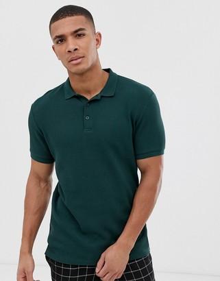 Asos Design DESIGN jersey waffle polo in green