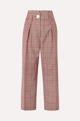 Petar Petrov Pleated Checked Wool And Mohair-blend Wide-leg Pants - Red