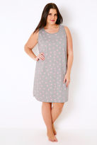 Yours Clothing Grey & Pink Heart Print Nightdress
