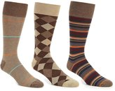 Roundtree & Yorke Gold Label Textured Stripe Combo Crew Dress Socks 3-Pack