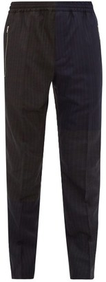 Stella McCartney Patchwork Pinstriped Wool Trousers - Mens - Navy