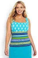 Classic Women's Plus Size Long Underwire Squareneck Tankini Top-Scuba Blue Foulard Stripe