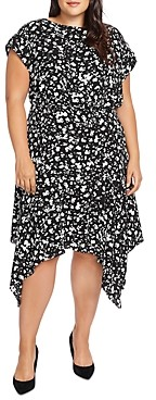 Vince Camuto Plus Abstract Print Handkerchief Dress