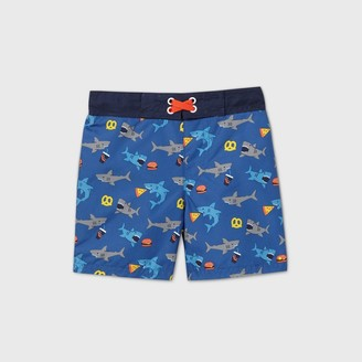 Cat & Jack Toddler Boys' Shark Print Swim Trunks - Cat & JackTM