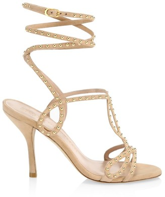 Stuart Weitzman Leya Ankle-Wrap Studded Suede Sandals