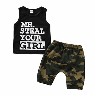 UK Toddler Infant Baby Boy Camouflage Clothess Vest Top Shorts Casual Outfit Set