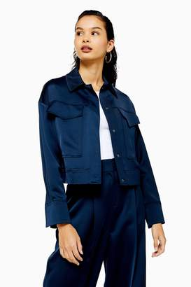 Topshop Womens Navy Cropped Satin Utility Jacket - Navy Blue
