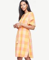 Ann Taylor Petite Plaid Split Neck Drawstring Dress