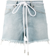 Off-White Drawstring Cut-Off Denim Shorts