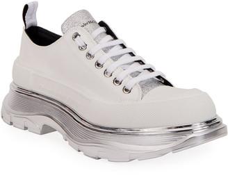 Alexander McQueen Men's Metallic-Sole Canvas Sneakers