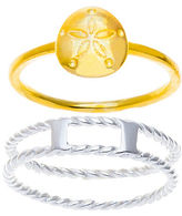 Lord & Taylor Two-Tone Sterling Silver Sand Dollar Two-Piece Ring