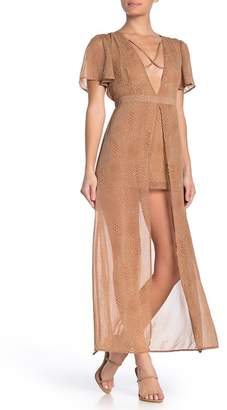 Material Girl Flutter Sleeve Plunge Walk-Thru Jumpsuit