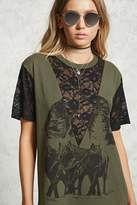 Forever 21 Lace Panel Wolf Print Tee