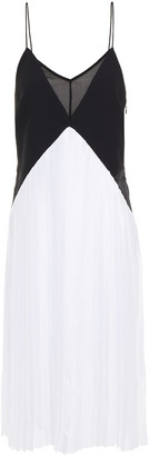Victoria Victoria Beckham Pleated Two-tone Satin-twill And Crepe Dress