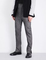 Ann Demeulemeester Herringbone-patterned tapered regular-fit linen and wool trousers