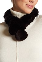 Surell Genuine Rex Rabbit Fur Pompom Collar