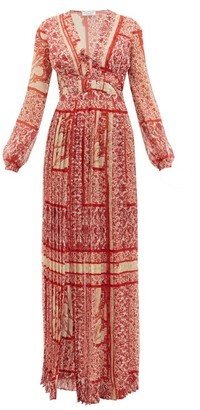 Raquel Diniz Valentina Paisley-print Silk-georgette Dress - Red White
