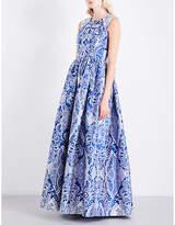 Mary Katrantzou Shaw cards sleeveless jacquard gown