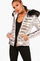 boohoo Shaunie Short Faux Fur Hood Puffer Jacket