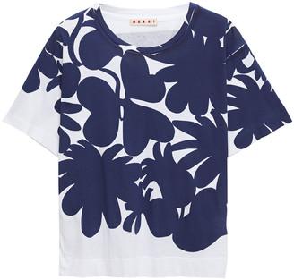 Marni Paneled Printed Cotton-jersey T-shirt