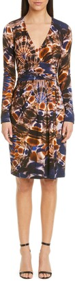 Fuzzi Print Drape Long Sleeve Mesh Dress
