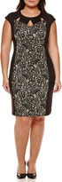 Ronni Nicole RN Studio by Cap-Sleeve Lace Front Sheath Dress - Plus