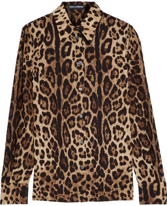 Dolce & Gabbana Leopard-print Stretch-silk Crepe De Chine Shirt