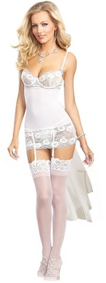 Dreamgirl Women's Sexy Dreamy Bridal Scalloped Lace and Mesh Garter Slip with Flirty Long Tulle Train Detail and Matching G-String