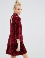 Monki Keyhole Neck Velvet Skater Dress
