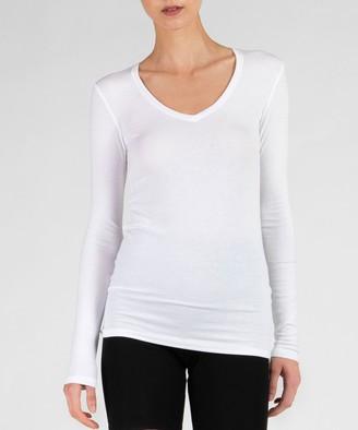 Atm Modal Rib Long Sleeve V-Neck Tee - White