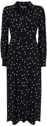 Mint Velvet Navy Spotted Shirt Midi Dress