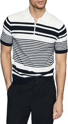 Reiss Cassidy Stripe Half Zip Polo Sweater