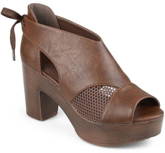 Brinley Co. Women's Faux Leather Tie Back Open Toe Platform Clogs