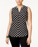 INC International Concepts Plus Size Printed Zip-Pocket Top, Only at Macy's