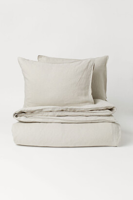 H&M Washed Linen Duvet Cover Set - Beige