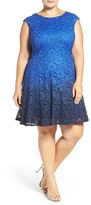 Chetta B Plus Size Women's Ombre Shimmer Lace Fit & Flare Dress