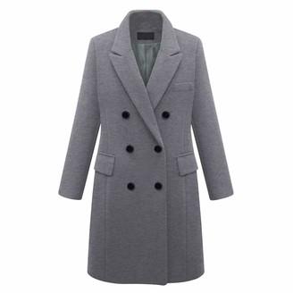 Semen Women Classic Winter Long Pea Coat Notch Lapel Double Breasted Business Coat Outwear Gray