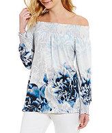 Calvin Klein Off-The-Shoulder Smocked Floral Print Matte Jersey Top