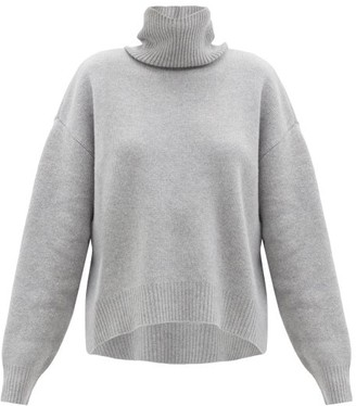 Raey Cropped Displaced-sleeve Roll-neck Wool Sweater - Light Grey