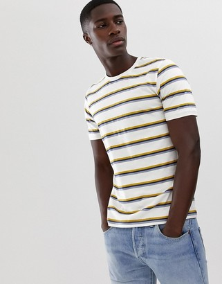 Selected t-shirt with multi texture stripe-White