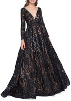 Mac Duggal 6-Week Shipping Lead Time Sequin Burnout Plunge-Neck Long-Sleeve Ball Gown